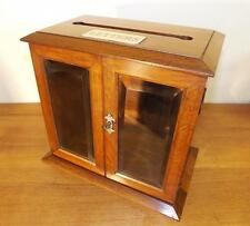 Quality Victorian Solid Tiger Oak Mail/ Letters/ Ballot Box Pristine c1880