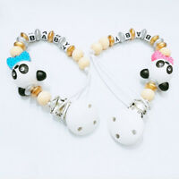 Baby wooden pacifier holder clips chain infant dummy nipple teether straps AB