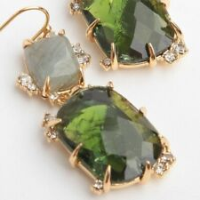 Alexis Bittar Elements Collection Double Drop Gold Earrings Green Crystal NEW