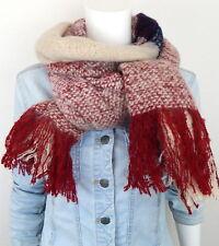 Winterschal rot beige blau Ella Jonte Schal Herbst Winter kuschelweich Fransen
