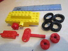 LEGO Wind up Clockwork Yellow Motor Car / Truck / Train / Railway with Red Key X