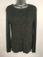 WOMENS H&M GREY MIX RIB KNIT LONG SLEEVE JUMPER SWEATER PULLOVER SIZE EU SMALL