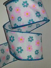 """SPRING RIBBON - WHITE W/TEAL & PINK FLOWERS WIRED EDGE - 2.5"""" X 25' - #2"""