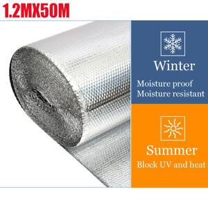 50M Double Aluminium Bubble Foil Insulation for Loft Caravan Shed Home Large