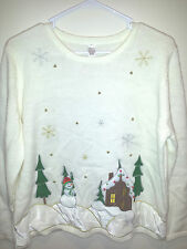 Vintage Tacky Ugly Christmas Sweater - XL White Snowmen Comfy Jumper w/ Measures