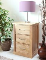 NARA solid oak FURNITURE 3 drawer lamp / bedside TABLE