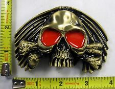 SKULL AND CROSSBONES RED EYES BELT BUCKLE BIKER PIRATE REBEL NEW B747