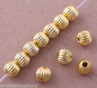Wholesale Gold-plated Corrugated Bead spacer Findings loose beads charms 6mm
