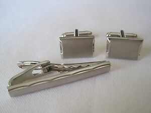 Geoffrey Beene Modern Silver-Tone Cufflinks and Tie Bar