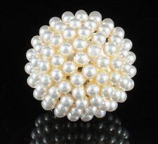 HUGE PEARL BALL FASHION COCKTAIL RING COSTUME JEWLERY SIZE 8 LARGE R803G GOLD
