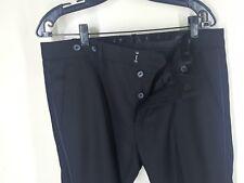 "DIESEL Recent Flat Front Solid Black Dress Pants Satin Stripes 34"" x 27 ""  Mint"