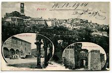 1904 Perugia Piazza del Municipio Porta Urbica Etrusca DEST. Lucca FP B/N VG