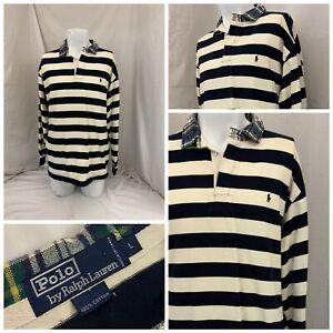 Polo Ralph Lauren Rugby L Men Ivory Black Stripe Cotton Plaid Collar YGI U1-341