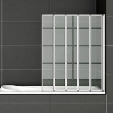 120x140 Badewannenfaltwand 5-teilig Duschwand Duschabtrennung Badewannenaufsatz