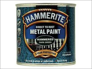 Hammerite - Direct to Rust Hammered Finish Metal Paint Dark Green 250ml