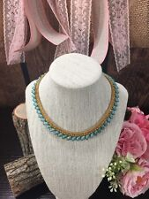 o Vintage Hobe Necklace Turquoise Art Glass Crystals Gold Mesh Part Of Set