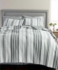 Martha Stewart Collection Ridge Stripe Cotton 8-Pc. Comforter Set - QUEEN - Gray