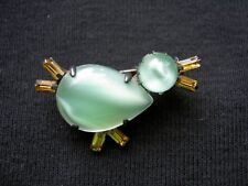 VTG Jelly Belly Amber Rhinestone Duck Chick Bird Figural Xmas Gift Brooch Pin