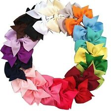 20Pcs Kids Grosgrain Ribbon Boutique Alligator Clip Baby Girls Hair Bows Band