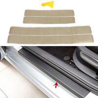 4Pcs Gold color car door sill scuff welcome pedal protect carbon fiber sticker