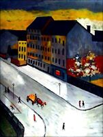 Hand Painted Oil Painting Repro Macke August Unsere Strasse in Grau 30x40in