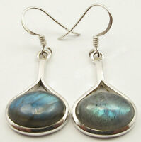 "BLUE FIRE CABOCHON LABRADORITE JEWELRY Earrings 1.5"" 925 Solid Silver Jewelry"