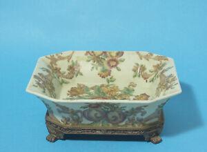 Vintage Brass Footed Square Crackle Glaze Fruit Bowl – Embellish Australia - AIT