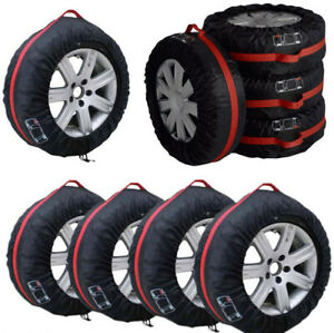 """Auto Spare Tyre Protection Cover Carry Tote Handle Storage Bags 4Pcs 16""""-22"""""""
