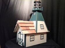 Amish Homemade Solar Nautical Lighthouse Rural Mailbox Almond with Green Trim