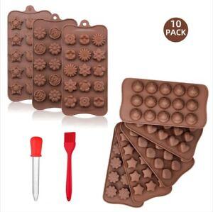 10-tlg Silikon Pralinenform/Schokoladenform verschiedene Formen W/Pinsel Tropfer