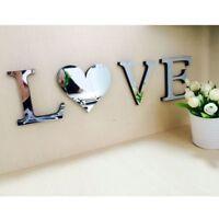 Mirror Wall Sticker Love/Home Letters Wall Decor DIY Art Mural 3D Acrylic G9Z