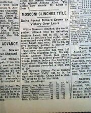 WILLIE MOSCONI 1st Pro Billiards Straight POOL Title Championship 1941 Newspaper