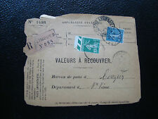 FRANCE - devant d enveloppe 1927 (Z10) french (timbres perfores)