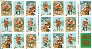 Santa Claus and Child Booklet Pane of Twenty 32 Cent Postage Stamps Scott 3011a