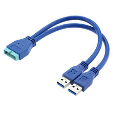 2 ports USB 3.0 A Male to 20 Pin Male en-tête Carte mère Extension Adaptateur Cable