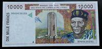 Banknote .Côte D'ivoire/ivory Coast 10000 Francs 1999 Pick 114 Ah UNC/NEUF