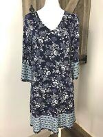 Skies stitch fix Womens S Navy Floral 3/4 Sleeve Stretch Jersey Shift Dress HH