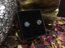 Flashy natural Labradorite 6mm cabochon sterling silver stud earrings 🎨