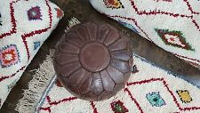 Ottomans Foot stool stitched Leather Round  pouf  Hassock Moroccan