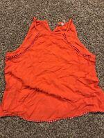 Mudd Womens M Orange Sleeveless Shirt Rayon halter cutout A12