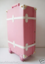# Vintage Style Pink+White L33*W18*H57CM PU Leather Suitcase/Luggage Trolley