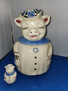 SHAWNEE WINNIE PIG COOKIE JAR BLUE COLLAR VINTAGE USA 1940's