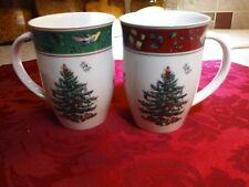 1 Pair SPODE CHRISTMAS TREE MUGS, Red & Green, excellent, no chips or cracks