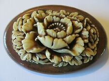 VINTAGE WIDE VANILLA TAN PEONY FLORAL CELLULOID PLASTIC w/WOOD BASED BROOCH PIN