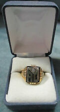 Vintage 14K Solid Gold Size 8 Alpha & Omego Men's Ring With 3 Point Diamond