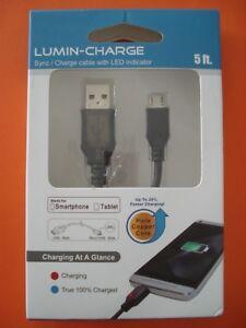 Lumin-Charge R4U-13001-BK USB 2.0 Sync/Charge cable w/ LED Indicator 5-foot