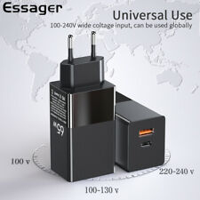 Essager 65W GaN USB Type C Wall Charger EU Plug QC PD 4.0 Phone Laptop Adapter