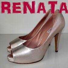 "Luxury Italian ""RENATA""  PALE GOLD LEATHER Court  Shoes UK  7  EU 39.5  £165 NEW"