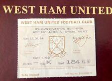 More details for very rare west ham vs palace testimonial match ticket alan devonshire - 13/08/89