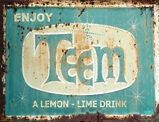 "TIN SIGN ""Teem Blue"" Soda Pop Kitchen Wall Decor"